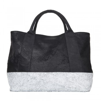 Distressed and Cracked Two Tone Leather Large Shopper Handbag