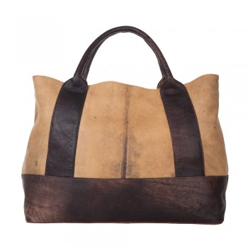 Two Tone Distressed Brown Leather Large Shopper Handbag